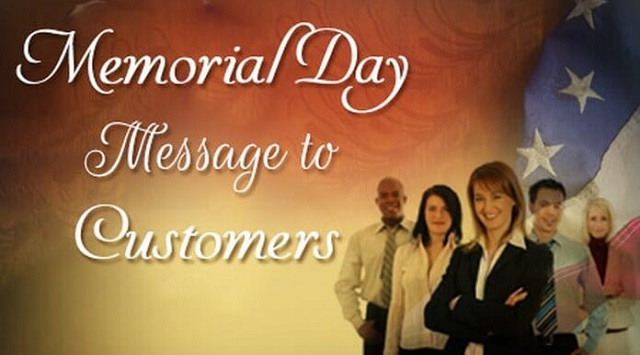 Memorial Day Message To Customers